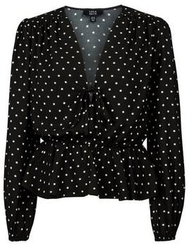Dorothy Perkins Womens **Lola Skye Black Star Print Tie Top, Black