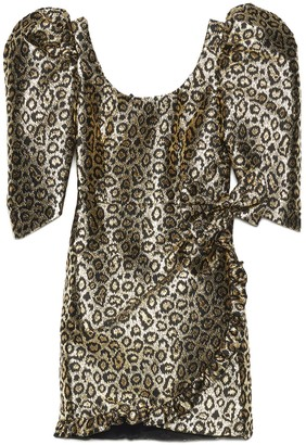 Alessandra Rich Puff Sleeve Leopard Print Dress
