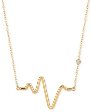 Sarah Chloe Diamond Accent Adjustable Heartbeat Pendant Necklace in 14k Gold-Plated Sterling Silver