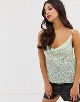 Asos DESIGN fuller bust embellished sequin cami top with cowl neck