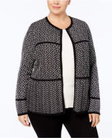 Charter Club Plus Size Patterned Cotton Cardigan, Created For Macy's