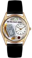 Whimsical Watches Women's C0620003 Classic Gold Accountant Black Leather And Goldtone Watch