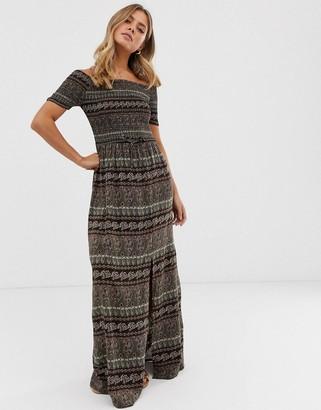 Brave Soul juliet off shoulder maxi dress in paisley mix-Black