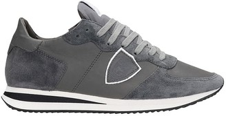 Philippe Model Trpx L Sneakers In Grey Suede And Leather