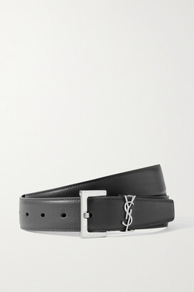 Saint Laurent Monogramme Leather Belt - Dark gray