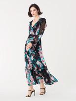 Diane von Furstenberg Linnett Sheer Chiffon Faux-Wrap Maxi Dress