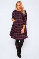 Yours Clothing Red & Black Check Shirt Dress With Tie Waist