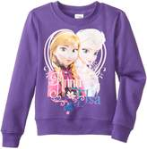 Disney Frozen Little Girls' Anna and Elsa Crew Neck Long Sleeve Top