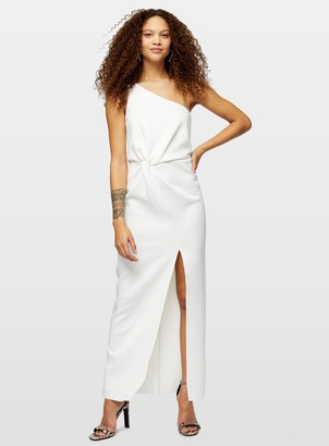 Miss Selfridge PETITE Ivory One Shoulder Scuba Maxi Dress
