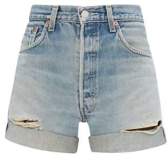 RE/DONE Levi's 90s Distressed Denim Shorts - Womens - Denim