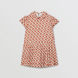 Burberry Childrens Peter Pan Collar Monogram Print Silk Dress