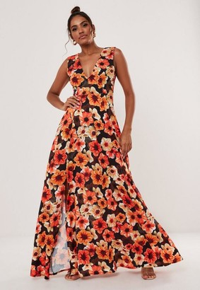 Missguided Orange Floral Print Plunge Neck Maxi Dress