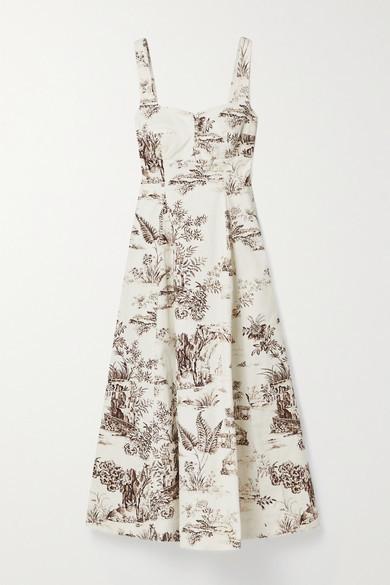 Nicholas Kiki Floral-print Stretch-cotton Twill Midi Dress - Ivory
