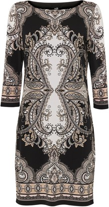 Wallis Black Paisley Print Shift Dress
