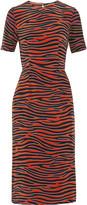 House of Holland Zebra-print silk crepe de chine midi dress