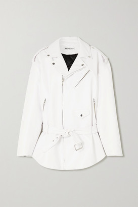 Balenciaga Oversized Leather Biker Jacket - White