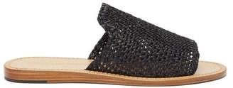 Dolce & Gabbana Braided Faux-raffia Slides - Black