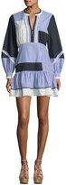 Tanya Taylor Yaya Split-Neck Full-Sleeve Menswear-Stripe Dress