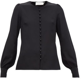 Goat Jude Faux-pearl Button Silk Blouse - Womens - Black
