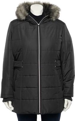 Details Plus Size Faux-Fur Hood Puffer Jacket