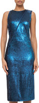 Akris Fully Sequined Cocktail Dress w/Asymmetric Zip, Blue Jay