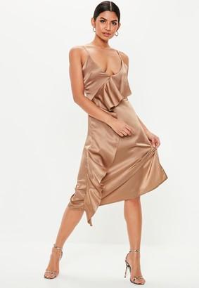 Missguided Beige Satin Asymmetric Frill Midi Dress