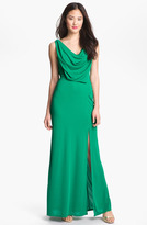 Draped Cowl Neck Mesh Gown