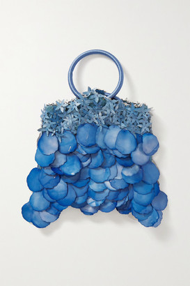 Nannacay Majorie Paillette-embellished Velvet And Suede Tote - Blue