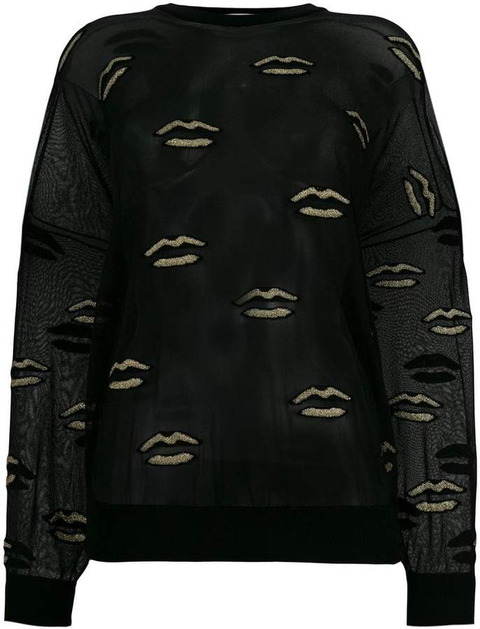 Givenchy embroidered lips sheer top