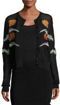 Opening Ceremony Gestures Embroidered Mesh Cardigan, Black