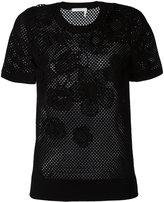 Chloé floral mesh T-shirt - women - Cotton - L