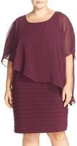 Adrianna Papell Plus Size Women's Chiffon Overlay Shutter Pleat Sheath Dress