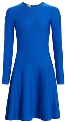 Akris Punto Long Sleeve Wool Fit-&-Flare Dress