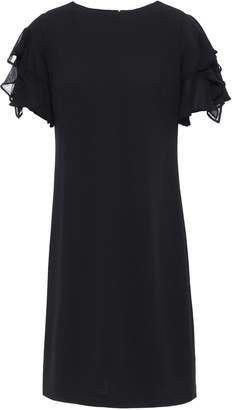 DKNY Paneled Georgette And Stretch-crepe Dress