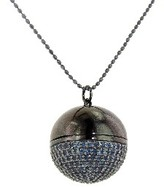Sydney Evan Pave Sapphire Ball Locket in Blackened Gold