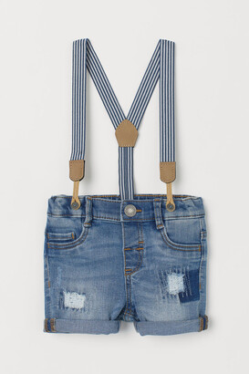 H&M Denim Shorts with Suspenders - Blue