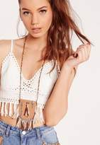 Missguided Faux Leather Pouch Long Necklace, Brown