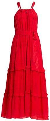 CHUFY Huancayo Halter Lace Eyelet Maxi Dress