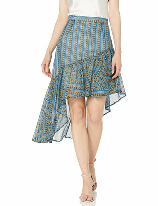 BCBGMAXAZRIA Women's Striped Pyramid Asymmetric Skirt