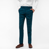 Paul Smith A Suit To Travel In - Men's Tailored-Fit Dark Green Loro Piana Wool Windowpane Check Trousers