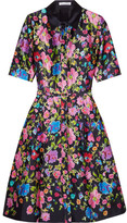 Oscar de la Renta Floral-print Silk And Cotton-blend Satin Dress - Navy