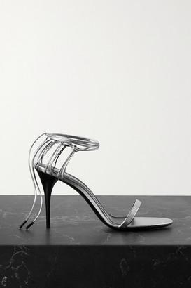 Saint Laurent Lexi Metallic Leather Sandals - Silver