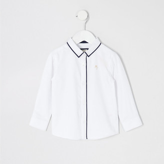 River Island Mini boys white long sleeve piped shirt