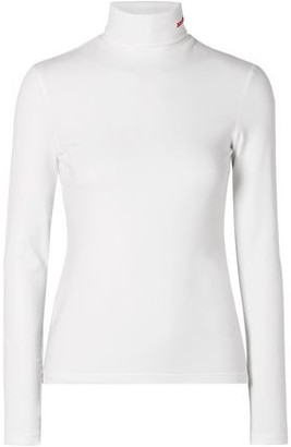 Calvin Klein Embroidered Cotton-jersey Turtleneck Top