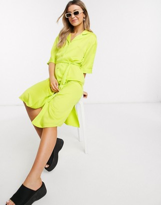 Monki Maggie satin midi shirt dress in lime green