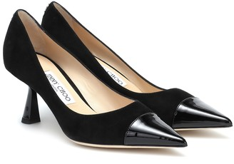 Jimmy Choo Rene 65 suede and leather pumps
