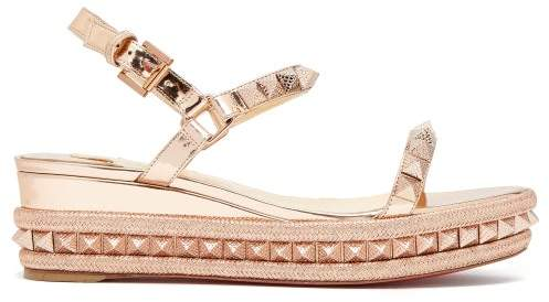 Christian Louboutin Pyraclou 60 Metallic Leather Flatform Sandals - Womens - Rose Gold