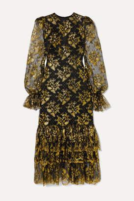 The Vampire's Wife The Lace Night Bird Ruffled Metallic Fil Coupé Lace And Silk-satin Midi Dress - Black