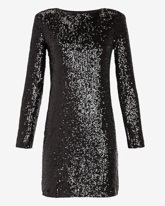 Express Sequin Long Sleeve Shift Dress