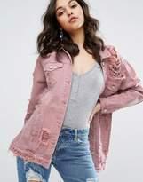 Missguided Pink Denim Jacket
